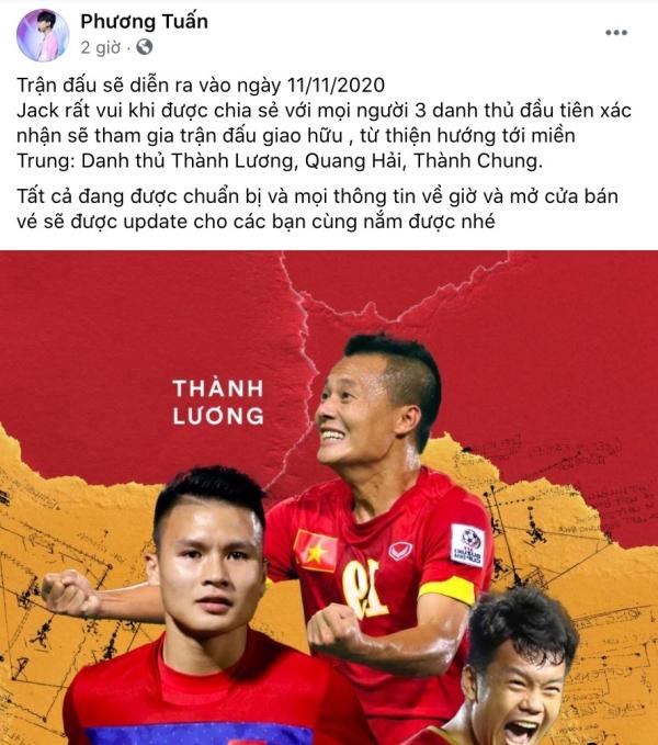 Jack thông báo 3 gương mặt đầu tiên cho trận bóng giao hữu vì miền Trung: Quang Hải và...? 1