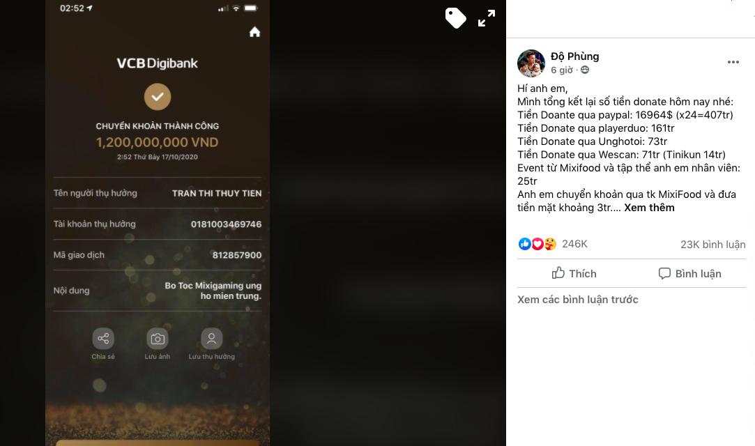 Số tiền 1,2 tỷ đã được Độ Mixi chuyển cho ca sĩ Thuỷ Tiên.