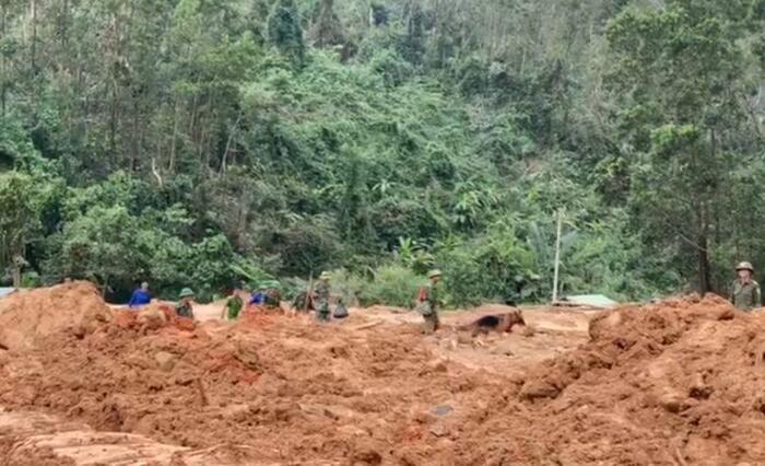 Lực lượng chức năng nỗ lực tìm kiếm các nạn nhân mất tích tại khu vực Tiểu khu 67 sau vụ sạt lở. Ảnh: Báo SGGP