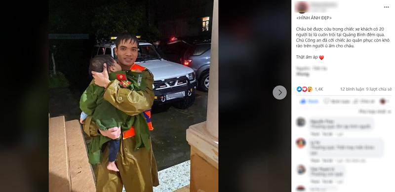 Khoảnh khắc xúc động: Chiến sĩ ủ ấm cho bé trai vừa được giải cứu khỏi xe khách bị cuốn trôi tại Quảng Bình 2