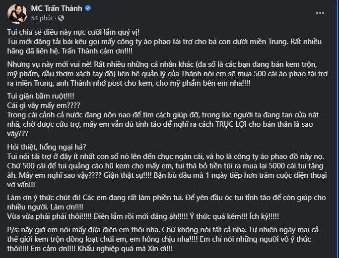 Bài chia sẻ của Trấn Thành.