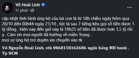 Hoài Linh đã quyên góp được 1,5 tỷ đồng.