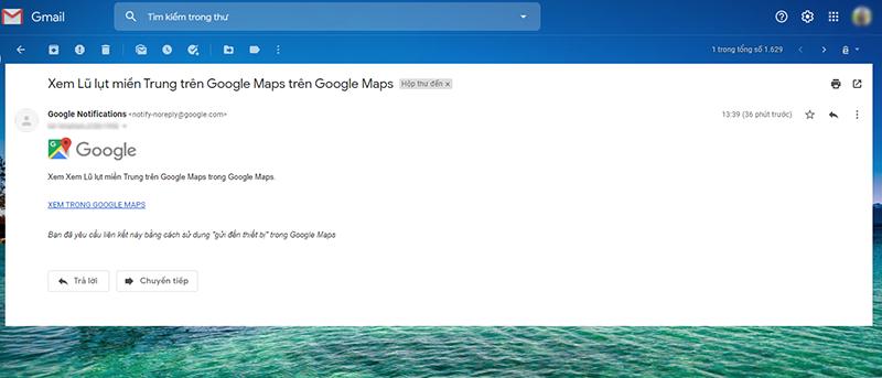 Bạn có thể tra cứu các thông tin về lũ lụt miền Trung trên bản đồ và gửi thông tin trực tiếp về email của mình