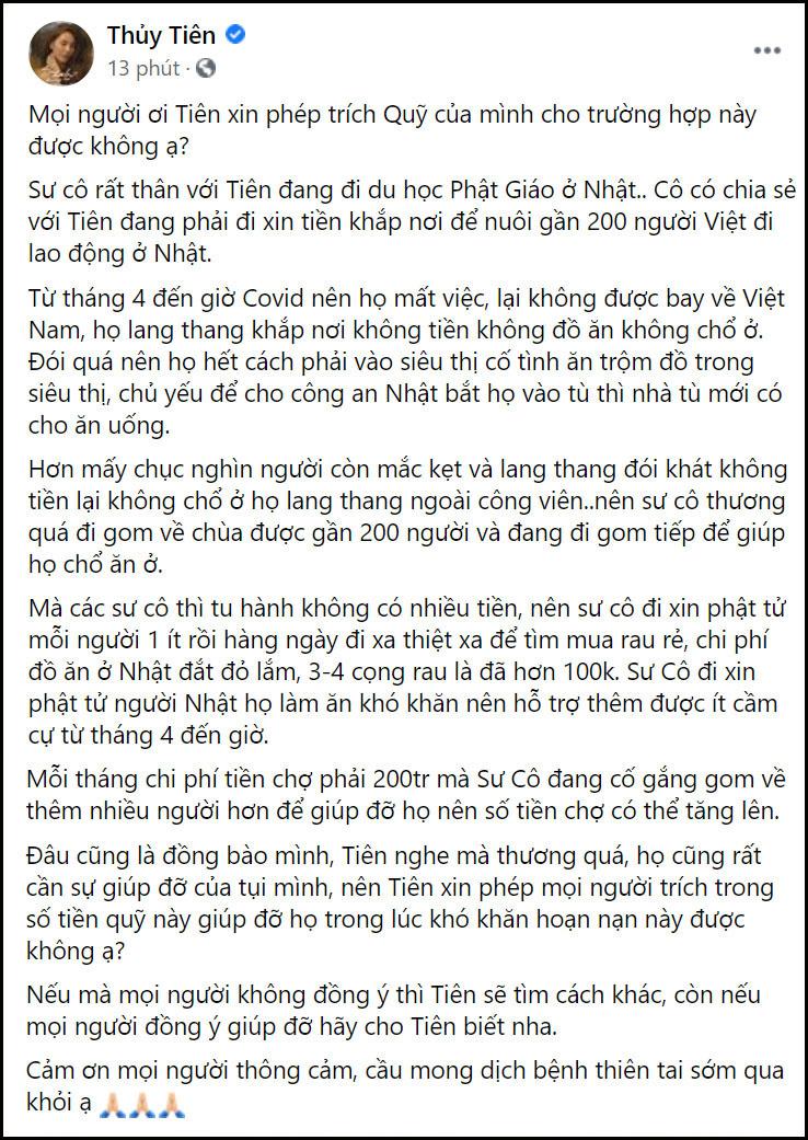 Bài đăng Thủy Tiên hỏi ý kiến cư dân mạng về việc trích tiền cứu trợ miền Trung để giúp đỡ người dân Việt Nam bị thất nghiệp tại Nhật Bản