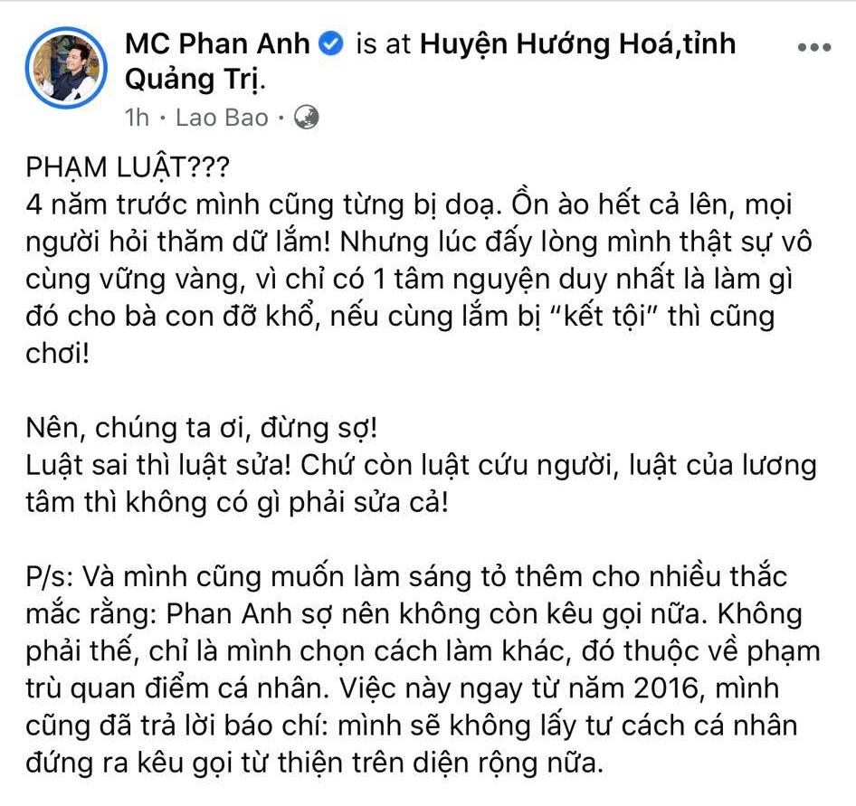 Bài đăng của Phan Anh nhận về rất nhiều lượt tương tác. Phần đông người bày tỏ thái độ đồng tình quan điểm với nam MC