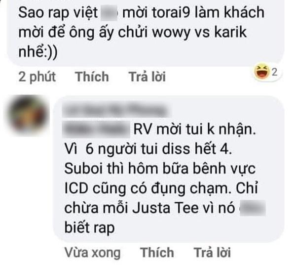 Bình luận gây tranh cãicủa Torai9 có nhắc đến dàn HLV/Giám khảo 'Rap Việt'.