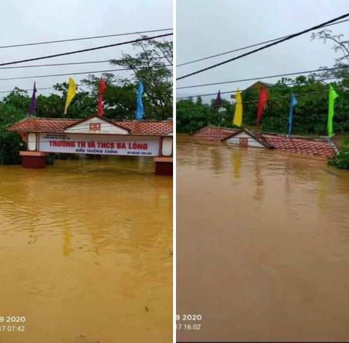 Nước lũ dâng cao ở xã Ba Lòng, huyện Đa Krông, Quảng Trị