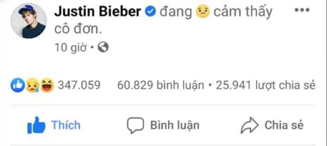 Fan được phen xỉu lên xỉu xuống vì Justin đăng dòng trạng thái đầy tâm trạng
