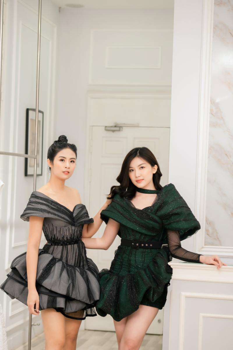 Hoa hậu Ngọc Hân, Á hậu Trà My - Thanh Tú và Lương Thanh mua váy của NTK Hà Duy để ủng hộ miền Trung 0