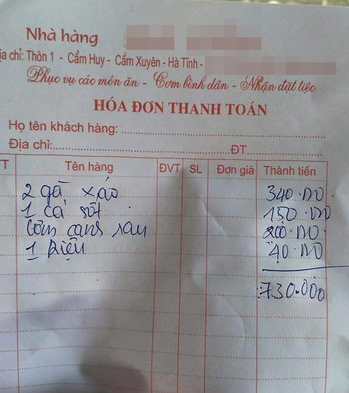 Hóa đơn cả thanh toán tổng 750k.