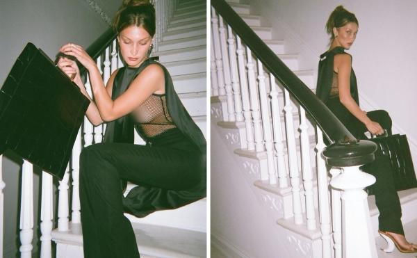 Bella Hadid thả dáng mơ màng giữa cầu thang với chiếc áo lưới 'nguy hiểm'.