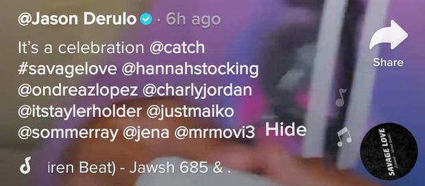 Tuy nhiên, Jason Derulo lại chỉ tag tên các thành viên trong ê-kíp của mình khi ăn mừng, hoàn toàn bỏ quên Jawsh 685 và BTS.
