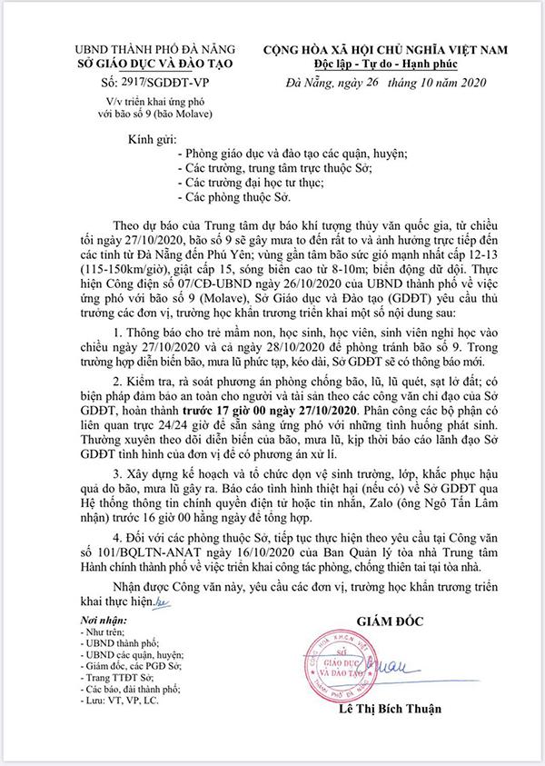 Học sinh, sinh viên Đà Nẵng nghỉ học 2 ngày để phòng tránh bão số 9 1