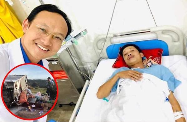 Bác sĩ Khánh chia sẻ về tình hình sức khỏe của tài xếchở hàng cứu trợ miền Trung gặp tai nạn lật xe. Ảnh bác sĩ Khánh.