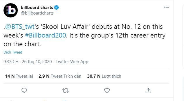 'Skool Luv Affair' debut ở #12 của Billboard 200. tuần này.