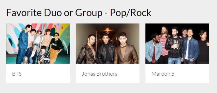 Năm nay, BTS sẽ tranh giảiFavorite duo of group (pop/rock) cùng vớiJonas Brothers và Maroon 5.