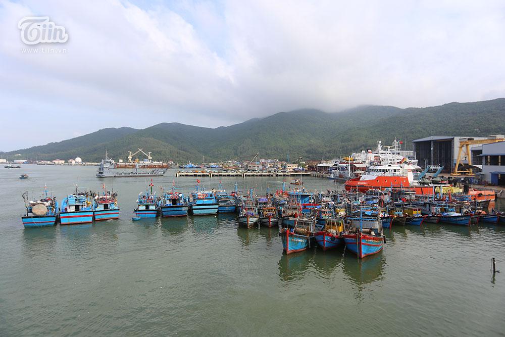 Các thuyền neo đậu tại cảng Thọ Quang để tránh bão.