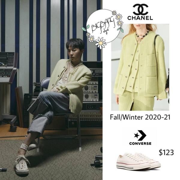 Mới đây, lên tạp chí Vogue, G-Dragon mặc chiếc jacket vải tweed trong bộ sưu tập thu đông của nhà mốt Chanel. Mang màu xanh quả bơ mát mắt, G-Dragon phối với set đồ bụi bặm, không bị 'nhiễm' màu nữ tính