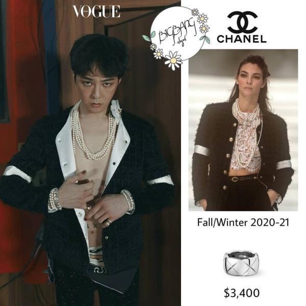 Chiếc jacket vải tweed được G-Dragon phối theo lối hoang dã, mạnh mẽ