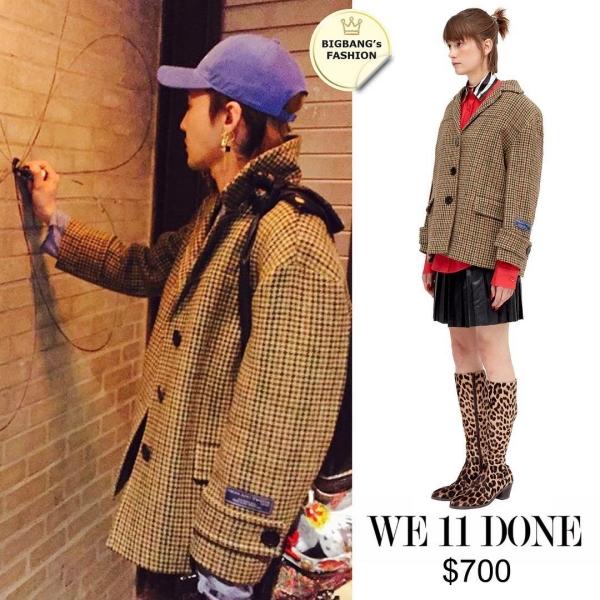 Kiểu áo blazer sọc được mẫu nữ mặc lên rất nữ tính, còn G-Dragon thì lại khiến nó mang chất bụi bặm riêng