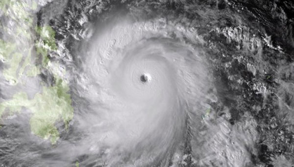 Hình ảnh siêu bão Hải Yến chụp từ vệ tinh vào hôm 7/11 của Cơ quan Khí tượng Nhật Bản cung cấp. Ảnh: AFP