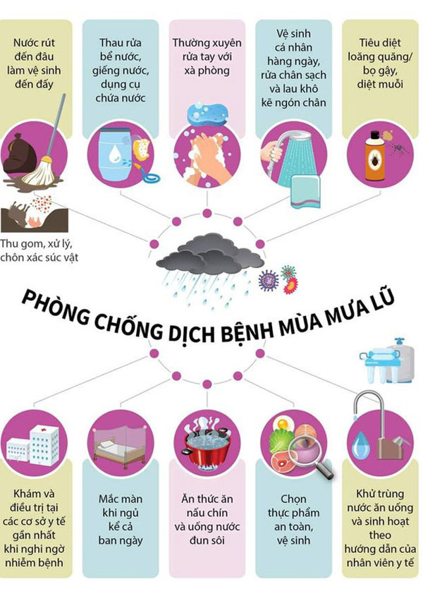 Hướng dẫn của Bộ Y tế để phòng chống dịch bệnh trong thời gian mưa lũ - Nguồn: Bộ Y tế