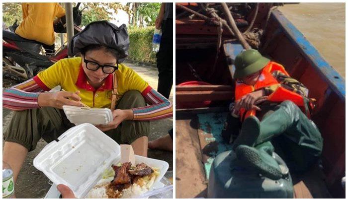 Trang Trần dành hơn nửa tháng để đi cứu trợ ở miền Trung, côtranh thủ ngủ trên thuyền khi đi cứu trợ miền Trung gây xúc động.