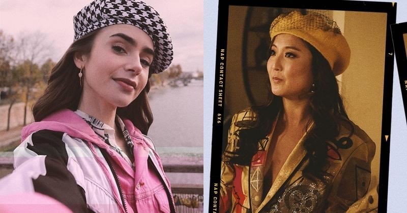 Mũ là một item không thể thiếu trong tủ đồ của các cô nàng và chiếc beret đặc trưng của 'kinh đô ánh sáng'của làng thời trang cũng được hai 'nàng thơ'Emily và Mindy Chen trong phim lăng xê theo đa dạng phong cách với nhiều phân cảnh phim khác nhau.