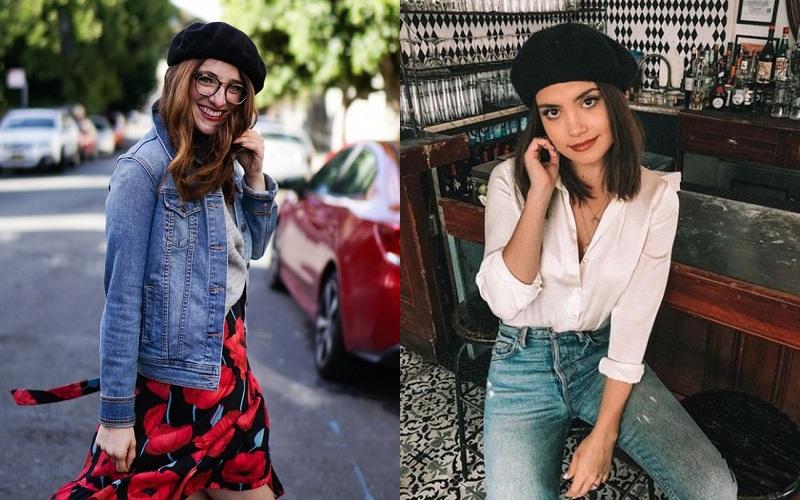 Bộ outfits jeans đậm chất retro và mũ beret luôn là cặp bài trùng khó lỗi mốt bởi sự đơn giản, tính linh hoạt cao trong việc mix trang phục.