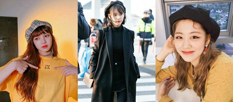 Bên cạnh đó, không nên đội thẳng mũ nồi mà nên chếch nghiêng, lệch hẳn phía sau đỉnh đầu hay lệch sang một phía góp phần tôn lên đường nét của khuôn mặt như ba nữ idol Hàn Quốc chẳng hạn.