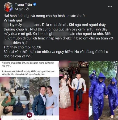 Trang Trần đáp trả thay vợ chồng Thủy Tiên và vợ chồng Lý Hải.