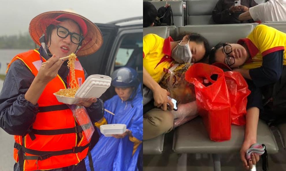 Trang Trần trong chuyến đi cứu trợ bà con vùng lũ vừa qua.