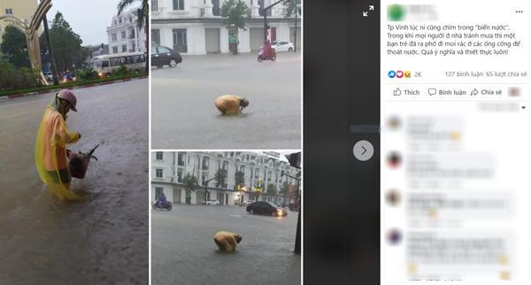 Một bạn trẻ ở Nghệ An đội mưa nhặt từng cọng rác ở ống cống để nước thoát nhanh hơn 0