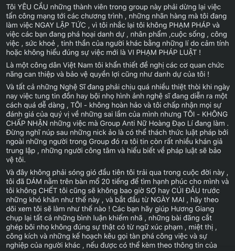 Hương Giang có chia sẻ rất dài sau nhiều lùm xùm bị khơi mào bởi chính hội nhóm anti của mình vừa qua.