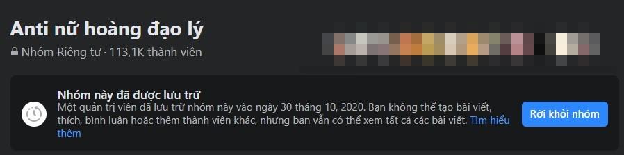 Hiện tại, group antifan Hương Giang đã khoá lạivàđể chế độ lưu trữ đối với thành viên trong nhóm.