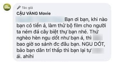 Bình luận xúc phạmkhán giả của admin fanpage 'Cậu Vàng Movie'.