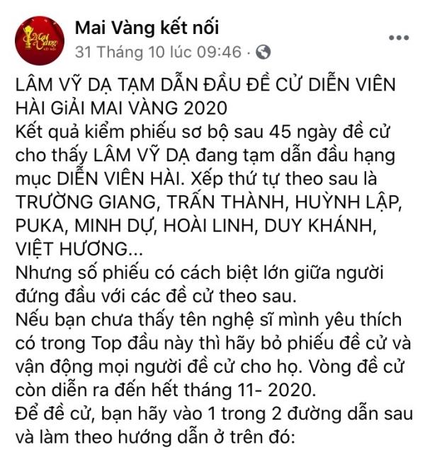 Lâm Vỹ Dạ bị anti-fans thả 'phẫn nộ' sau khi dẫn đầu đề cử tại Mai Vàng 0
