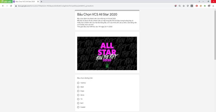 Giao diện bình chọn VCS All Star 2020