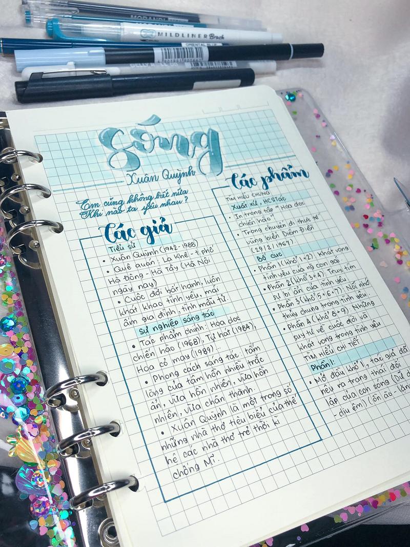 Chỉ với một vài chiếc bút, Khả Di đã khiến cho nội dung phân tính bài thơ Sóng của Xuân Quỳnh được tóm gọn trong một trang giấy cực kỳ dễ học và dễ hiểu.