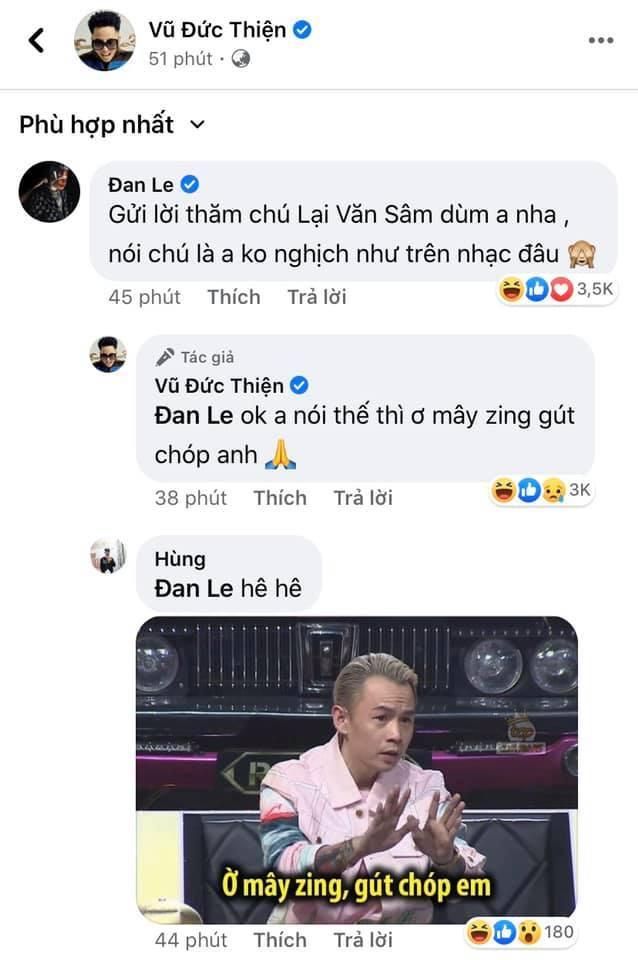 Sau khi nhận thấy được 'nỗi lòng' của Binz, Rhymastic cũng nhanh chóng hồi âm với dòng bình luận gây cười cực mạnh: 'Ok. Anh nói thế thì ơ mây zing gút chóp anh'.Bình luận của nam giám khảo Rap Việt lại nhận được 'bão like' vì quá hài hước.