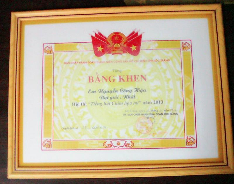 Công Hậu từng đạt giải Nhất hội thi 'Tiếng hát chim họa mi' vào năm 2013.