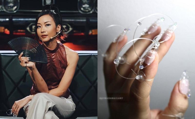 Câu chuyện mốt nail mới ''hoành tráng'' và thời thượng cũng được nhiều mỹ nhân Vbiz khác tham gia. Nữ giám khảo Rap Việt Suboi đã làm ''dậy sóng''cộng đồng mạng bằng bộ móng ''dây điện''3D cực chơi trội và hút mắt được thực hiện trong hai tuần.