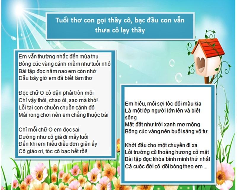 Những bài thơ lục bát ý nghĩa về thầy cô nhân ngày 20/11 3