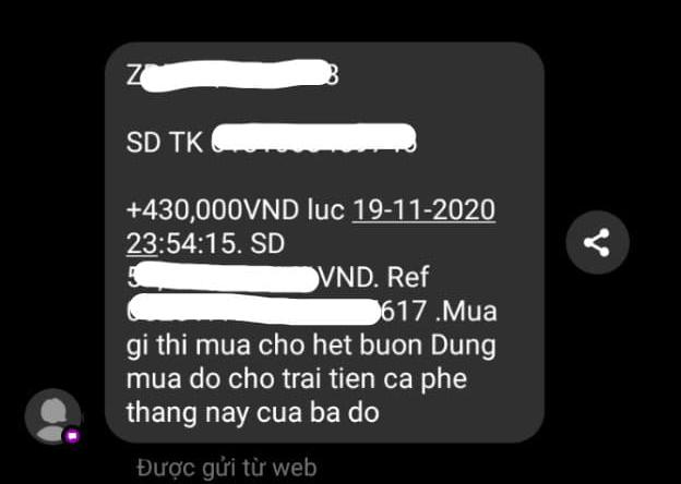 Tin nhắn chuyển khoản của chú Vỹ