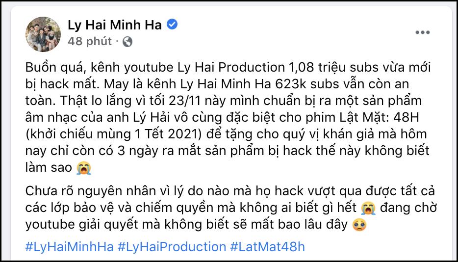 Lý Hải buồn bã thông báo kênh Youtube 1.08 triệu subs của mình đã bị hack mất