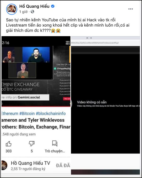 Tình trạng hiện tại của kênh Youtube Hồ Quang Hiếu