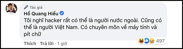 Thông báo của Hồ Quang Hiếu về việc bị hack facebook
