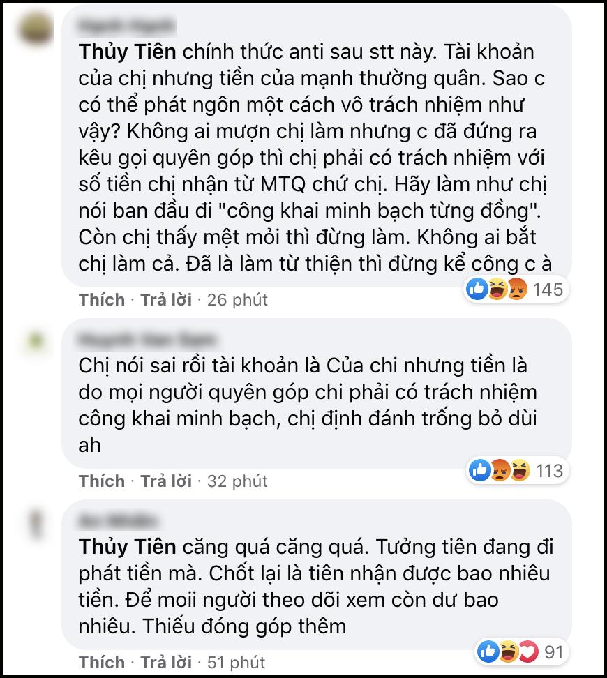 Thủy Tiên nhận về 'rổ gạch đá' khi đáp trả antifan chuyện đóng mở tài khoản nhận viện trợ miền Trung 2