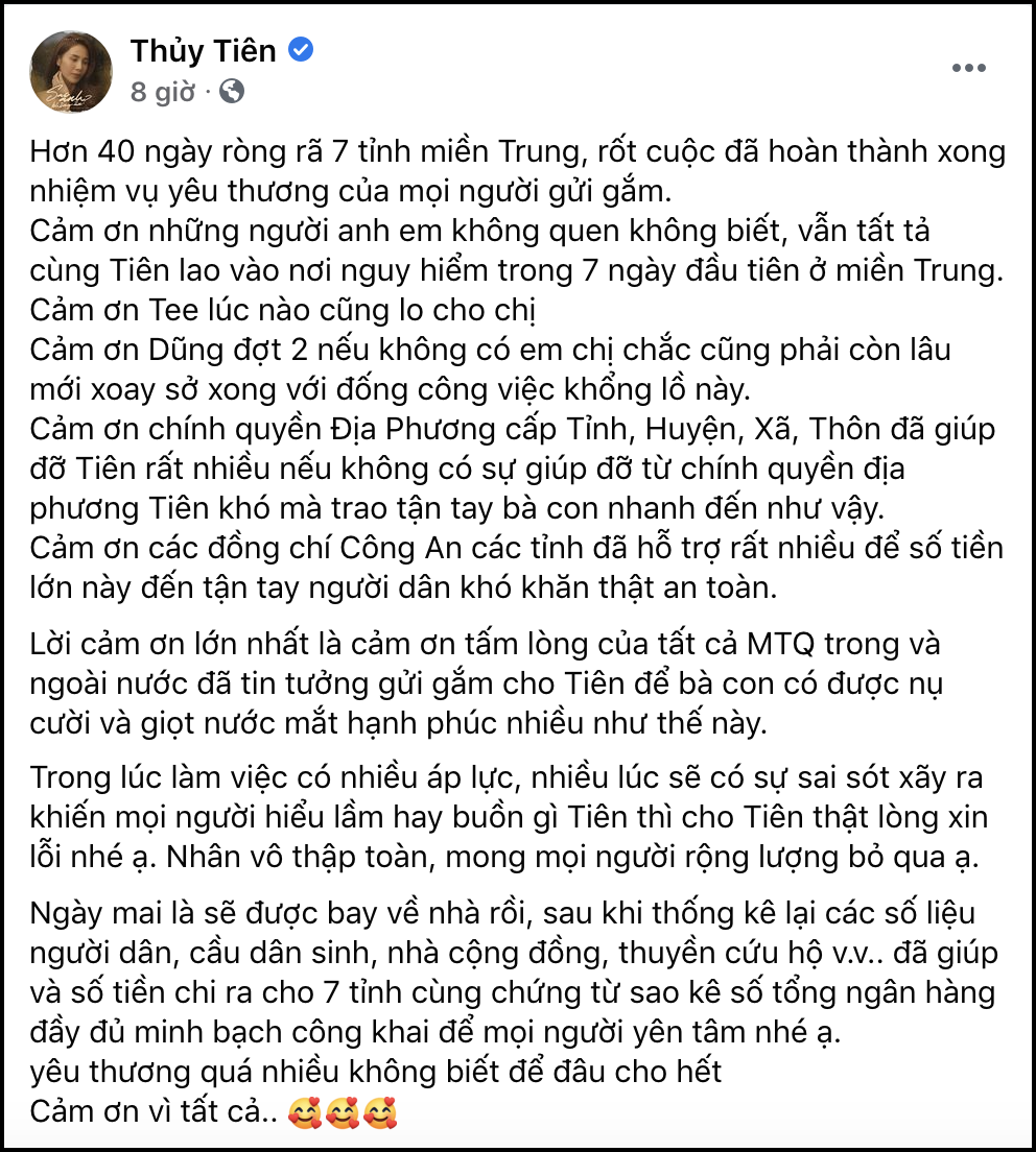 Thủy Tiên thông báo kết thúc hành trình 40 ngày viện trợ 7 tỉnh miền Trung