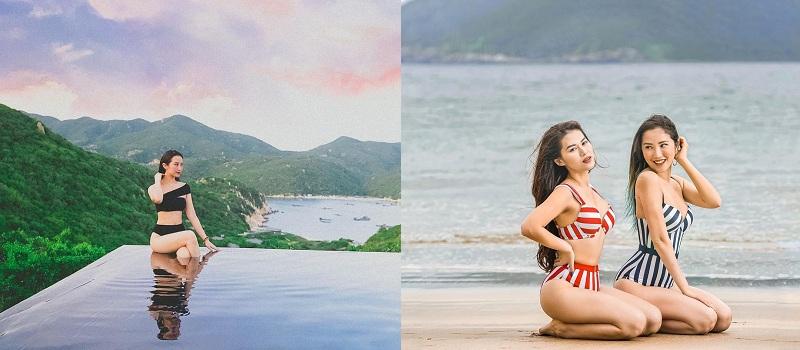 Rất ít khi diện bikini nhưng mỗi lần mặc, nàng ái nữ đều gắn liền với loạt thiết kế kín đáo, cao sang, khéo léo tôn trọn body gợi cảmcủa mình.